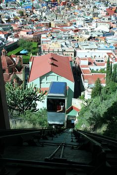OK, when I was there, there was not funicular to take you up to the top! At least not one that my professor let us know about. We hoofed it up! Funicular to Pipila Statue; Guanajuato, Mexico