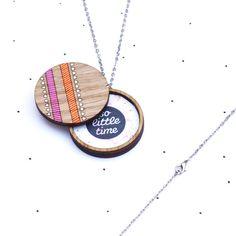 Wooden Photo Locket Neon Geometric - SALE
