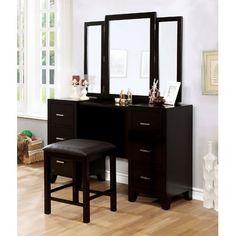 Powell Boulevard Antique Black Bedroom Vanity Set For