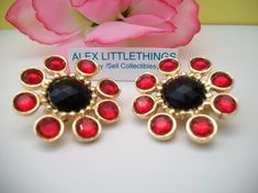 red and black floral rhinestone earrings by ALEXLITTLETHINGS, $9.99