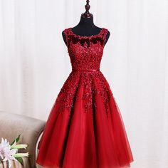 A28 robe de soiree red lace short evening dresses embroidery with beaded perspective backless fashion party evening dress, short prom dress