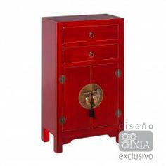 Mueble chino cajonera rojo rub 2 puertas muebles chinos for Muebles orientales madrid