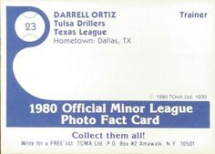 1980 TCMA Tulsa Drillers #23 Darrell Ortiz Back