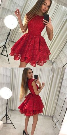 On Sale Engrossing Red Lace Homecoming Dress Round Neck Red Full Lace Cap Sleeves Homecoming Dresses 2 Piece Homecoming Dresses, Elegant Bridesmaid Dresses, Hoco Dresses, Dance Dresses, Pretty Dresses, Formal Dresses, Red Hoco Dress, Beautiful Short Dresses, Short Red Dresses