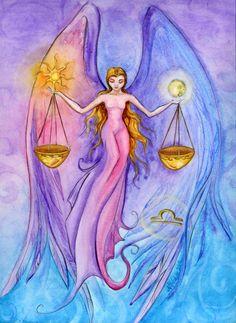 Watercolor - Star Sign - Libra - Print from Original Painting - Zodiac Series