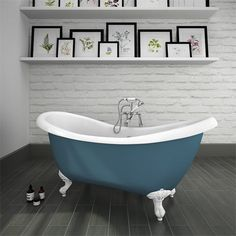 Earl Blue 1750 Double Ended Roll Top Slipper Bath w. Ball + Claw Leg Set, made with double skinned acrylic with a superb white and blue surface finish. Create a effectively dramatic traditional bathroom with this stunning bathtub. Light Grey Bathrooms, Grey Bathroom Tiles, Small Bathroom, Bathroom Ideas, Loft Bathroom, Family Bathroom, Tile Bathrooms, Bathroom Hardware, Bathroom Designs