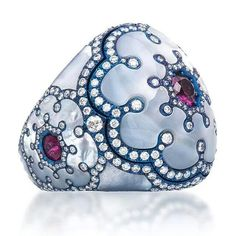 Titanium, Ruby and Mother of  Pearl Dome  Ring by  Lugano Diamonds