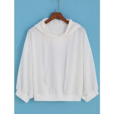 Hooded Drawstring Loose White Sweatshirt ($15) ❤ liked on Polyvore featuring tops, hoodies, sweatshirts, white, hooded sweatshirt, white sweatshirt, pullover hooded sweatshirt, hooded sweat shirt and sweater pullover