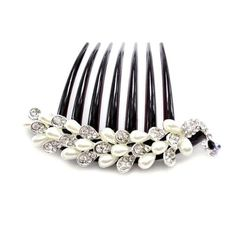 White Pearl and Rhinestone Peacock French Twist Updo Comb *** To view further for this item, visit the image link.