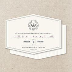 wine label wedding invitation diecut