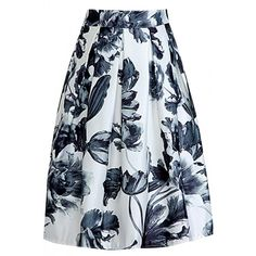 Vintage Floral Pleated Midi Skirt ($14) ❤ liked on Polyvore featuring skirts, bottoms, white, floral knee length skirt, white knee length skirt, elastic waist skirt, white skirt and vintage skirts