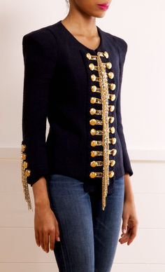 BALMAIN black military JACKET with gold embroidery and buttons