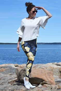 All Gold – Leggings // Axly // 3D solid gold extracted from Lapis Blue and navy tree bark shadows. Sassy 'All Gold Everything' design that demands attention. Axly leggings are mid-rise and perfect for yoga or street style - athleisure wear at it's best. Fun, bright, and colorful leggings – always original designs! 82% polyester / 18% spandex. Made in USA.