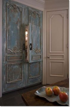 So so great - Antique French Blue doors remade into refrigerator panels