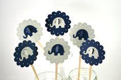 Elephant Cupcake Toppers Navy and Grey  Elephant Baby Shower-Elephant Birthday Party-Elephant Party decor-Elephant Party Invitation