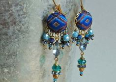 blue rhombus India silk brocade dangle  earrings par ellivira