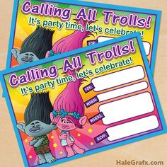 Free printable Trolls movie birthday party invitation