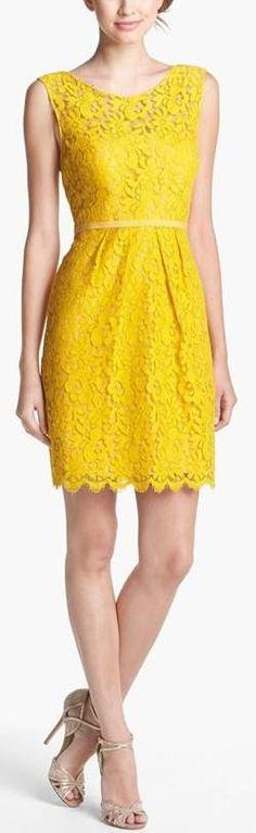 Jenny Yoo 'Harlow' Tea Lace Sheath Dress gold above knee sleevless