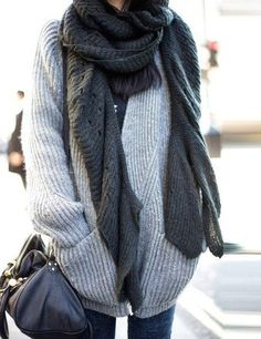 Two shades of gray: the cardigan and the scarf