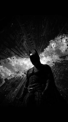 BATMAN DARK BW HERO ART WALLPAPER HD IPHONE