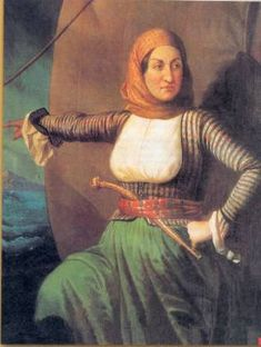 Laskarina Bouboulina May 1771 - 22 May was a Greek naval commander, heroine of the Greek War of Independence in and posthumously, an Admiral of the Imperial Russian Navy. From the island of Spetses Greece Greek History, Women In History, Ancient History, Greek Independence, Empire Ottoman, Pirate Queen, Greek Warrior, Fierce Women, Greek Culture