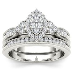 Shop for De Couer 10k White Gold 1/2ct TDW Diamond Marquise-framed Halo Engagement Ring Set (H-I, I2). Get free delivery at Overstock.com - Your Online Jewelry Destination! Get 5% in rewards with Club O!