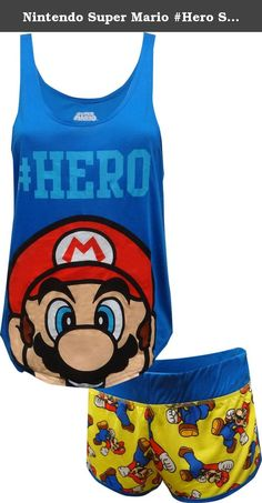 Nintendo Super Mario #Hero Shortie Pajama for women (Medium). Awesome! This pj set for women features Nintendo's Super Mario. Updated styling on the slouchy tank and a hem that is longer in the back add a modern twist to this hip length top. The wide elastic waist shorts have a coordinating Mario print. Machine washable , junior cut.