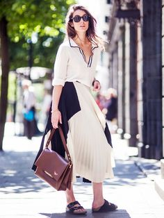 Pleated whites (via Who What Wear)