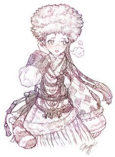 추우니까 따끈한 털옷 아가씨+_+ 소수 민족 의상은 이쁜게 너무 많아요 아흫