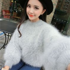 Winter new arrival marten velvet sweater female thickening thermal lantern sleeve turtleneck sweater basic mink