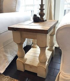 rustic farmhouse cottage baluster coffee table | wide plank