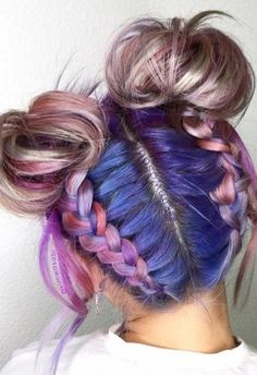 Long Hair Braids: Braided Hairstyles for Long Hair: Braided Double Top Buns #braidsforlonghair Bun Hairstyles, Pretty Hairstyles, Straight Hairstyles, Hairstyle Ideas, Summer Hairstyles, Halloween Hairstyles, Hairstyles Pictures, Braided Hairstyles Tutorials, Simple Hairstyles
