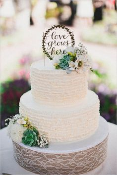 Green and white natural garden wedding cake