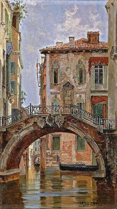 A Bridge over a Venetian Canal Antonietta Brandeis (Miscocon, 1848 - Florence, 1926) Oil on panel, 21 x 11.5 cm via Sotheby's, Amsterdam