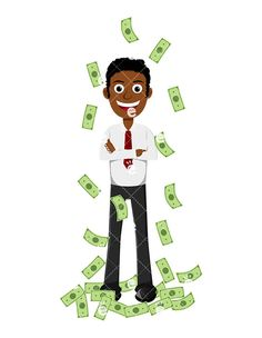 A Happy Black Man Taking A Money Shower:  #abundance #abundant #affiliate #affluent #african #african-american #american #black #boss #business #businessman #capitalist #career #cartoon #cash #CEO #character #clipart #company #conor #corporate #corporation #dollars #drawing #economical #economy #enterprise #entrepreneur #executive #finance #financial #financier #graphic #human #illustration...