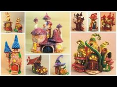 I made about 10 fairy houses so far using only plastic bottles, tin foil and paper clay. One house takes me about three days from start to finish. I filmed the most important steps so you can make one too. Clay Fairy House, Fairy Houses, House Lamp, House 2, Halloween Fairy, Fairy Lamp, Fairy Crafts, Jar Lanterns, Clay Fairies
