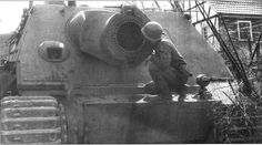 Sturmtiger being inspected by american soldier, spring 1945
