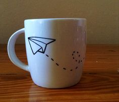 Paper Airplane Sharpie Mug by HopeRobinMakes on Etsy, $7.00