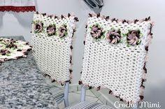 """Conjunto de capa de crochê para cadeiras ~ """"Crochê da Mimi"""""""