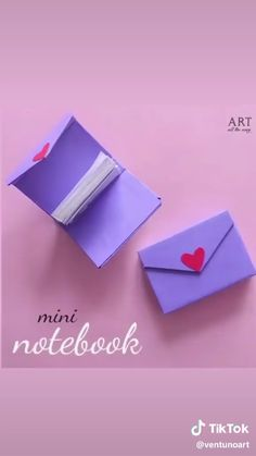 Mini notebook at heart ~ - Origami tutorial - Paper Paper Folding Crafts, Cool Paper Crafts, Paper Flowers Craft, Paper Crafts Origami, Paper Crafting, Fun Crafts, Oragami, Diy Crafts Hacks, Diy Crafts For Gifts