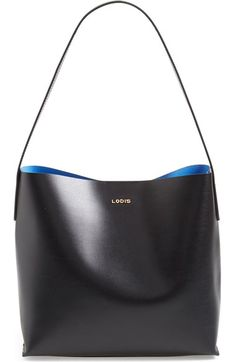 Glossy leather highlighted by sleek gilded hardware extends the sophistication of this lightly structured tote bag from Lodis. An optional zip-top pouch protects and organizes your essentials.
