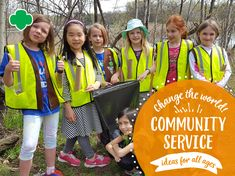 Our program theme at Girl Scouts River Valleys this year is It's Your World—Change It! There are lots of fun ways to get your troop involved in making the world… Read on!Change Your World! Community Service Ideas for All Ages Community Service Projects, Community Activities, Activities For Kids, Girl Scout Badges, Service Ideas, Girl Scout Leader, Daisy Girl Scouts, Brownie Girl Scouts, Sunday School Crafts