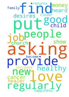 Asking God to provide me with a new job that I will - Asking God to provide me with a new job that I will love. Asking God to continue to keep me in good health and put the desires in my heard to eat healthy and exercise regularly. I am praying for my family to be closer to each other and show love toward each other. I am praying to become pregnant and have a healthy child. I am praying that God put me in a place where I can be a healer, encourage others and a people builder. I am praying…