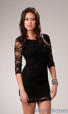 3/4 Sleeve Black Mini Dress at SimplyDresses.com