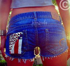 Vintage low rise studded denim American flag  shorts