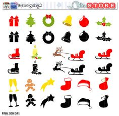 Christmas Silhouette Icons clipart. High quality Digital clip art