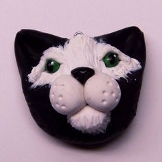 Black and White Polymer Clay Cats Head Pendant Handmade Animal Jewelry from CreativeCritters