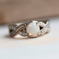 Opal Engagement Ring, Meteorite Ring With Diamond Accents in White Gold