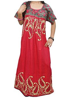 Women's Caftan Red Paisley Print Kaftan Cotton Dress L Mo... https://www.amazon.com/dp/B01GV09Q02/ref=cm_sw_r_pi_dp_KHYwxbNZBM26M