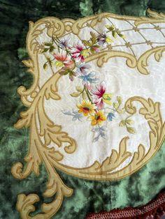 Valance French antique silk velvet applique embroideries 19th-century